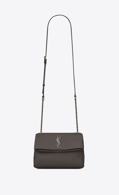 SAINT LAURENT West Hollywood Damen kleine west hollywood tasche aus grauem leder mit struktur a_V4