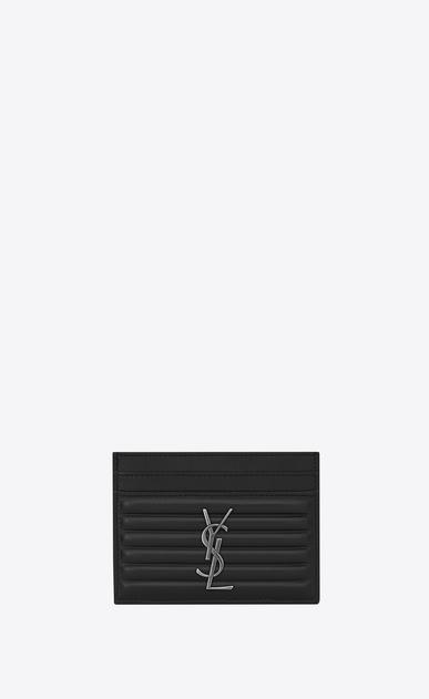 SAINT LAURENT Monogram D OPIUM Credit Card Case in Black Ribbed Leather a_V4