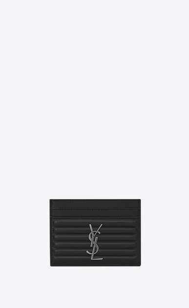 SAINT LAURENT Monogram D OPIUM Kreditkartenetui aus schwarzem Leder mit geripptem Finish a_V4