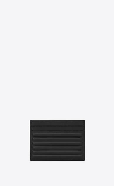 SAINT LAURENT Monogram D OPIUM Kreditkartenetui aus schwarzem Leder mit geripptem Finish b_V4