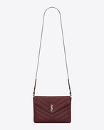 "SAINT LAURENT Monogramme Loulou D LOULOU Tablet Holder in Dark Red ""Y"" Matelassé Leather f"
