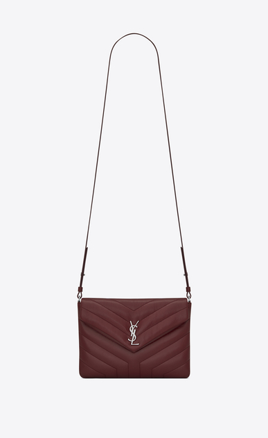 "SAINT LAURENT Monogramme Loulou D LOULOU Tablet Holder in Dark Red ""Y"" Matelassé Leather a_V4"