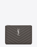 SAINT LAURENT Monogram Matelassé D monogram Pouch in Earth Grey Matelassé Leather f