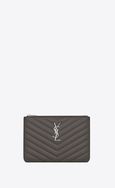 SAINT LAURENT Monogram Matelassé D monogram Pouch in Earth Grey Matelassé Leather a_V4