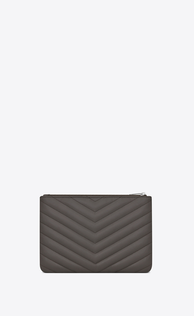 SAINT LAURENT Monogram Matelassé D monogram Pouch in Earth Grey Matelassé Leather b_V4