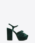 SAINT LAURENT Farrah D FARRAH 80 Bow Sandal in Dark Green Velvet f