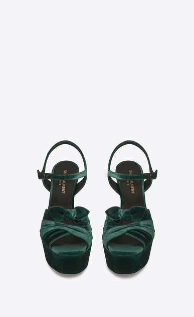 SAINT LAURENT Farrah D FARRAH 80 Bow Sandal in Dark Green Velvet b_V4