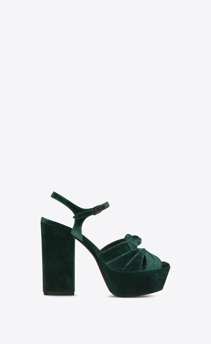 378ab142a52 Saint Laurent FARRAH 80 Bow Sandal In Dark Green Velvet