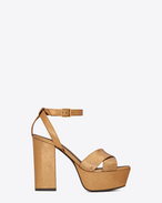 SAINT LAURENT Farrah D FARRAH 80 Crisscross Sandal in Bronze Cracked Metallic Leather f