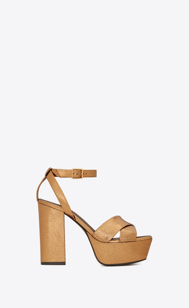 SAINT LAURENT Farrah D FARRAH 80 Crisscross Sandal in Bronze Cracked Metallic Leather a_V4