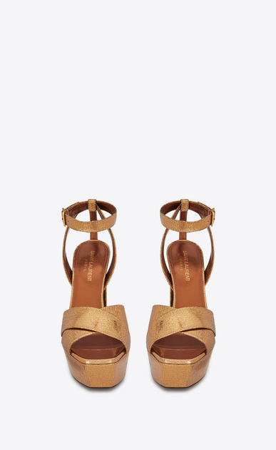 SAINT LAURENT Farrah D FARRAH 80 Crisscross Sandal in Bronze Cracked Metallic Leather b_V4