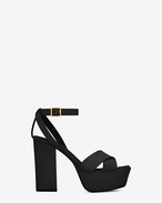 SAINT LAURENT Farrah D FARRAH 80 Crisscross Sandal in Black Leather f