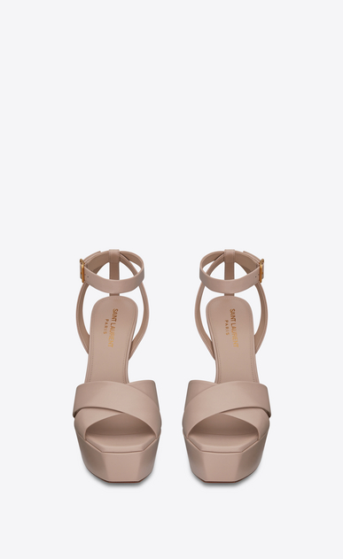 SAINT LAURENT Farrah D FARRAH 80 Crisscross Sandal in Light Rose Leather b_V4