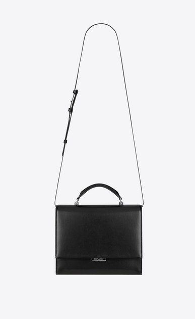 SAINT LAURENT Babylone Woman Medium BABYLONE Top Handle Bag in Black Leather a_V4