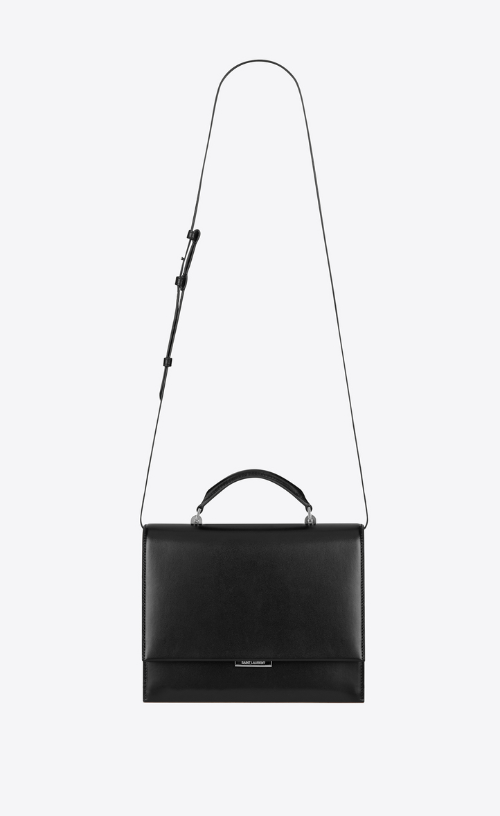 Medium Babylone Top Handle Bag In Black Leather Front View