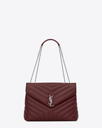 "SAINT LAURENT Monogramme Loulou D Medium LOULOU Chain Bag in Dark Red ""Y"" Matelassé Leather f"
