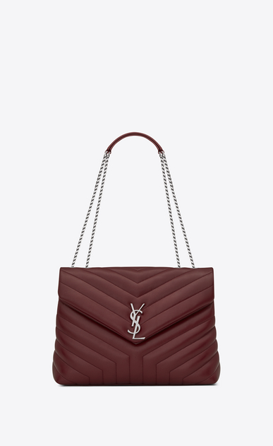 "SAINT LAURENT Monogramme Loulou Woman Medium LOULOU Chain Bag in Dark Red ""Y"" Matelassé Leather a_V4"