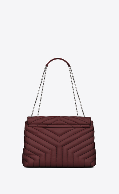 "SAINT LAURENT Monogramme Loulou Woman Medium LOULOU Chain Bag in Dark Red ""Y"" Matelassé Leather b_V4"