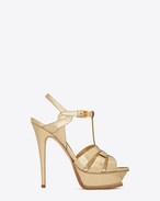 SAINT LAURENT Tribute D Classic TRIBUTE 105 Sandal in Pale Gold Cracked Metallic Leather f