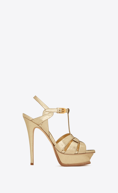 SAINT LAURENT Tribute D Classic TRIBUTE 105 Sandal in Pale Gold Cracked Metallic Leather a_V4