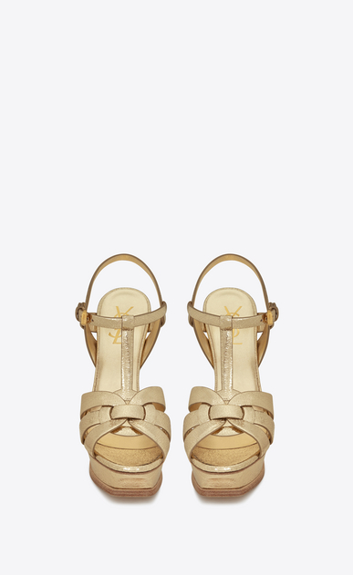 SAINT LAURENT Tribute Woman tribute 105 sandal in pale gold cracked metallic leather b_V4