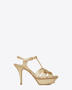 SAINT LAURENT Tribute D Classic TRIBUTE 75 Sandal in Pale Gold Cracked Metallic Leather f