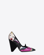 SAINT LAURENT Niki D NIKI 105 Pump Shoe in Multicolor Snakeskin, Cowhide and Leather Patchwork f