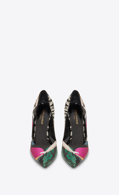 SAINT LAURENT Niki D NIKI 105 Pump Shoe in Multicolor Snakeskin, Cowhide and Leather Patchwork b_V4