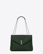"SAINT LAURENT Monogramme Loulou D Medium LOULOU Chain Bag in Dark Green ""Y"" Matelassé Leather f"