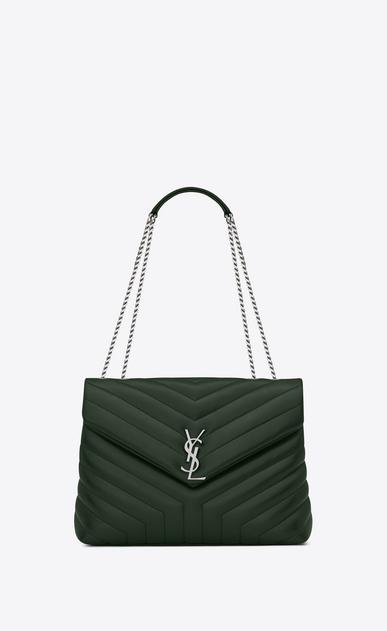 "SAINT LAURENT Monogramme Loulou D Medium LOULOU Chain Bag in Dark Green ""Y"" Matelassé Leather a_V4"