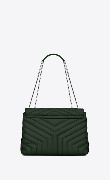"SAINT LAURENT Monogramme Loulou D Medium LOULOU Chain Bag in Dark Green ""Y"" Matelassé Leather b_V4"