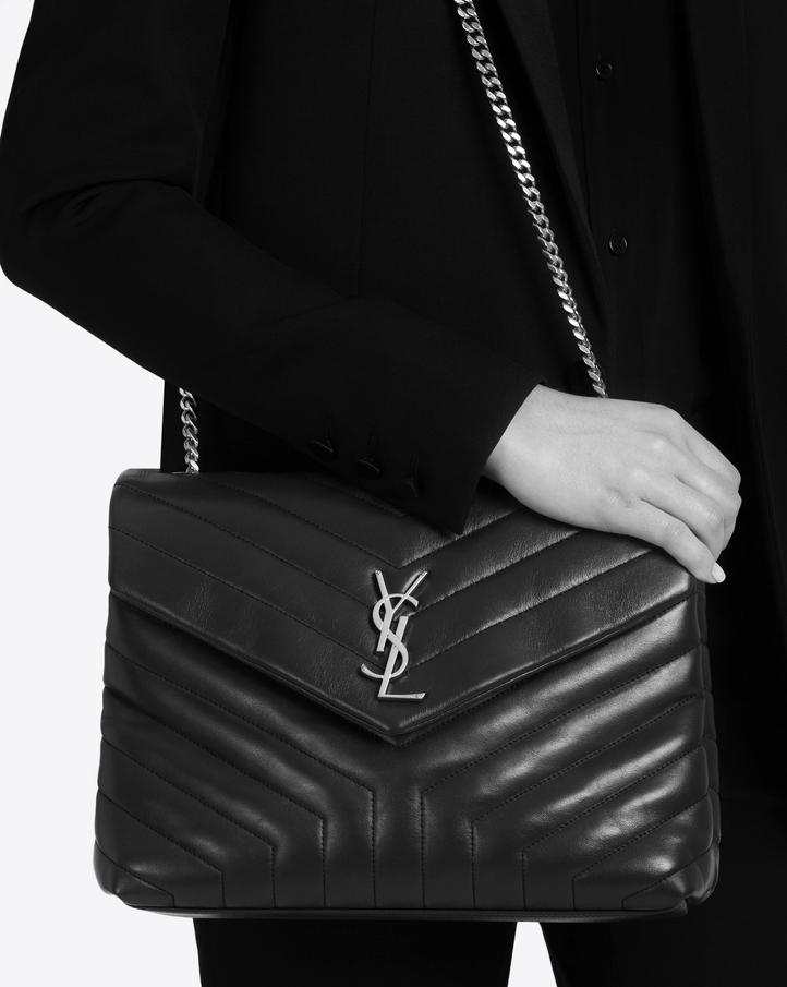 Saint Laurent Medium LOULOU Chain Bag In Dark Green