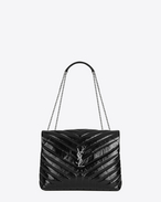 "SAINT LAURENT Monogramme Loulou D Medium LOULOU Bag con catena nera in vernice matelassé a ""Y"" f"