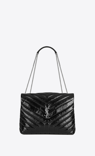 "Medium LOULOU Chain Bag in Black ""Y"" Matelassé Patent Leather"