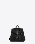 "SAINT LAURENT Monogramme Loulou D Small LOULOU Backpack in Black ""Y"" Matelassé Patent Leather f"