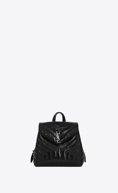 "SAINT LAURENT Monogramme Loulou Woman Small LOULOU Backpack in Black ""Y"" Matelassé Patent Leather a_V4"