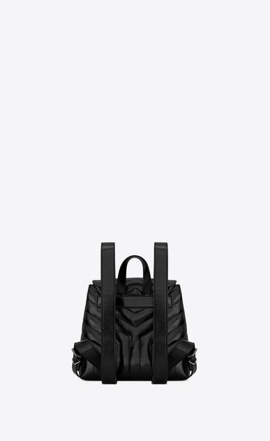 "SAINT LAURENT Monogramme Loulou Woman Small LOULOU Backpack in Black ""Y"" Matelassé Patent Leather b_V4"