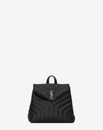 "SAINT LAURENT Monogramme Loulou D Small LOULOU Backpack in Black ""Y"" Matelassé Leather f"