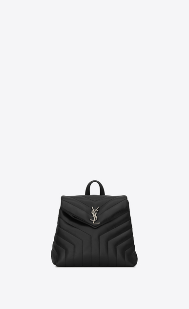 "SAINT LAURENT Monogramme Loulou Woman Small LOULOU Backpack in Black ""Y"" Matelassé Leather a_V4"
