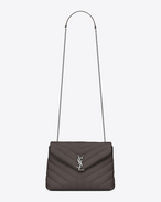 "SAINT LAURENT Monogramme Loulou D Small LOULOU Chain Bag in Grey ""Y"" Matelassé Leather f"