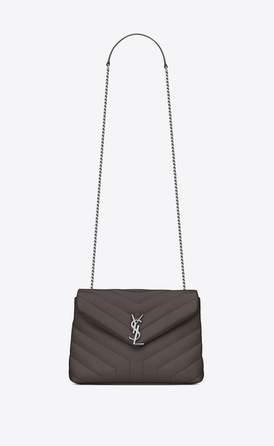 "SAINT LAURENT Monogramme Loulou Woman Small LOULOU Chain Bag in Grey ""Y"" Matelassé Leather a_V4"