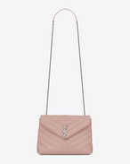 "SAINT LAURENT Monogramme Loulou D Small LOULOU Chain Bag in Pale Blush ""Y"" Matelassé Leather f"
