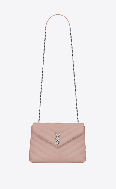"SAINT LAURENT Monogramme Loulou Woman Small LOULOU Chain Bag in Pale Blush ""Y"" Matelassé Leather a_V4"