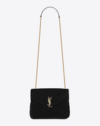 """SAINT LAURENT Monogramme Loulou D Bag Small LOULOU con catena nera in velluto matelassé a """"Y"""" f"""