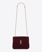 "SAINT LAURENT Monogramme Loulou D Small LOULOU Chain Bag in Burgundy ""Y"" Matelassé Velvet f"