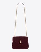SAINT LAURENT Monogramme Loulou D Petit sac à chaîne LOULOU en velours matelassé «Y» bordeaux f