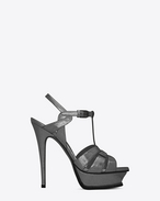 SAINT LAURENT Tribute D Classic TRIBUTE 105 Sandal in Gunmetal Cracked Metallic Leather f