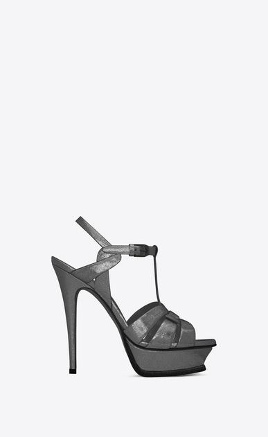 SAINT LAURENT Tribute D Classic TRIBUTE 105 Sandal in Gunmetal Cracked Metallic Leather a_V4