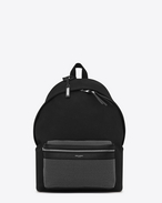 SAINT LAURENT Backpack U CITY Studded Backpack in Black Twill and Leather f