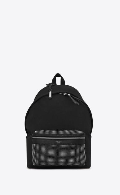 SAINT LAURENT Backpack Man CITY Studded Backpack in Black Twill and Leather a_V4
